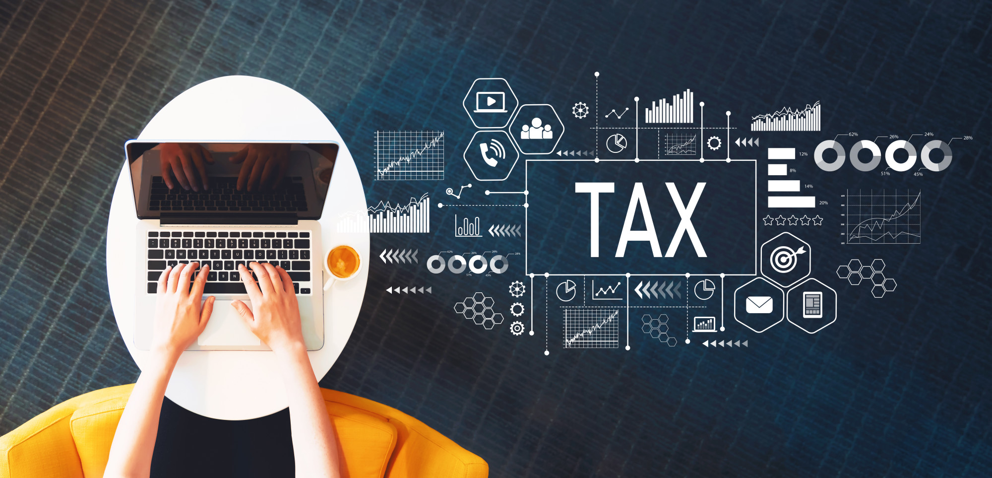 tax text and icons and person working on laptop