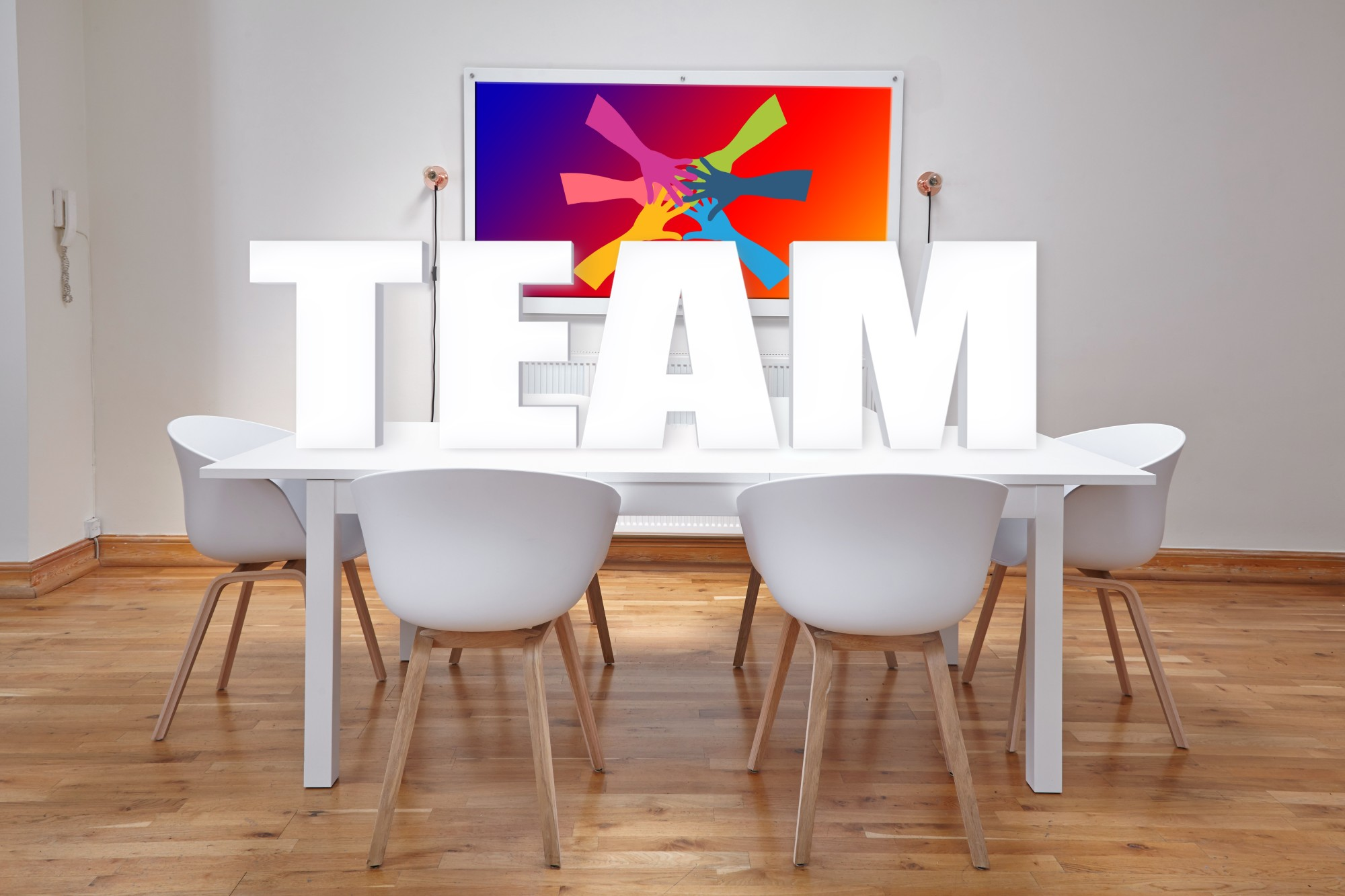 team on office table