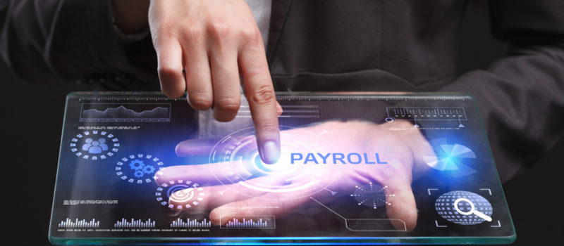 payroll and business man pointing