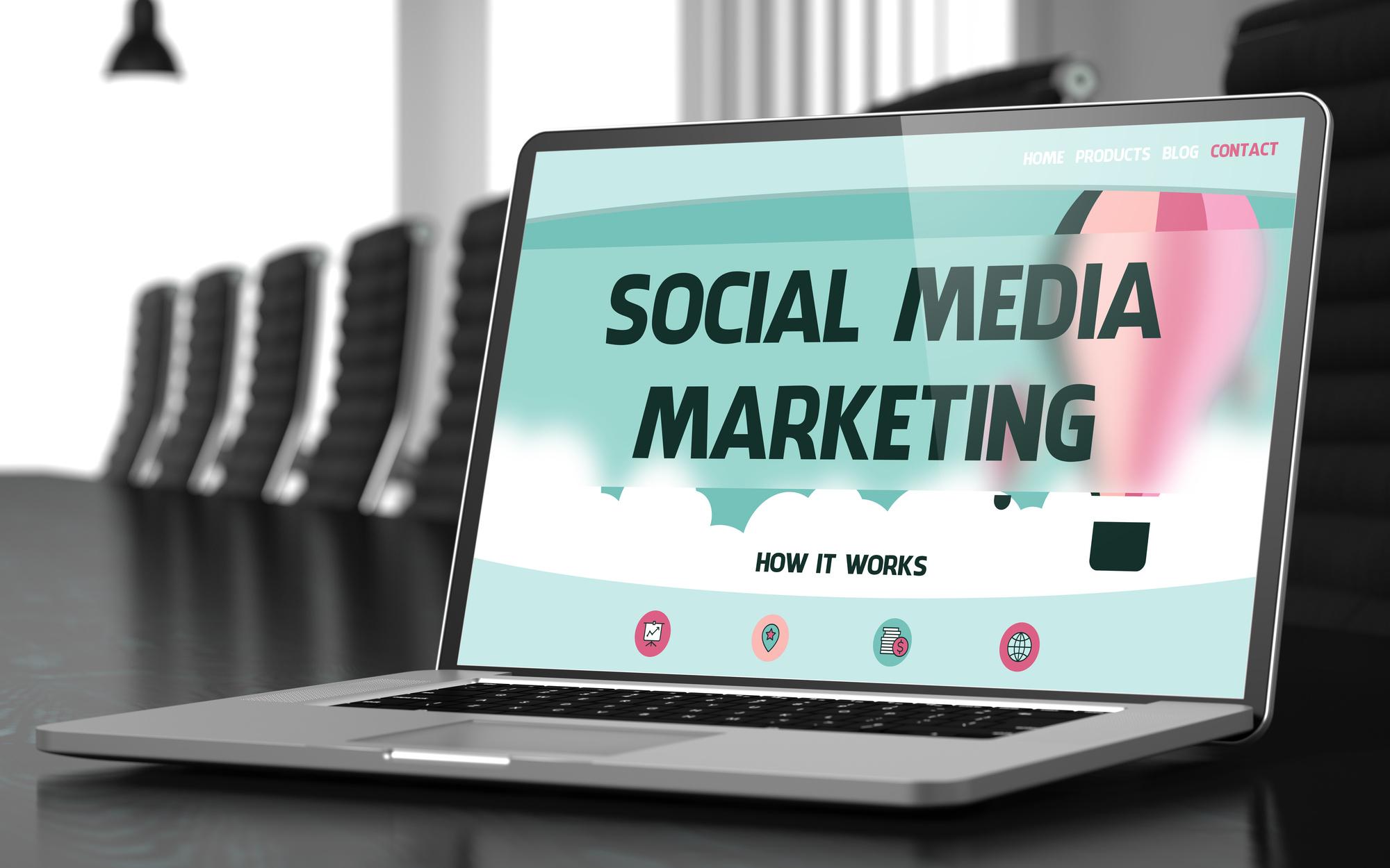 social media marketing on laptop