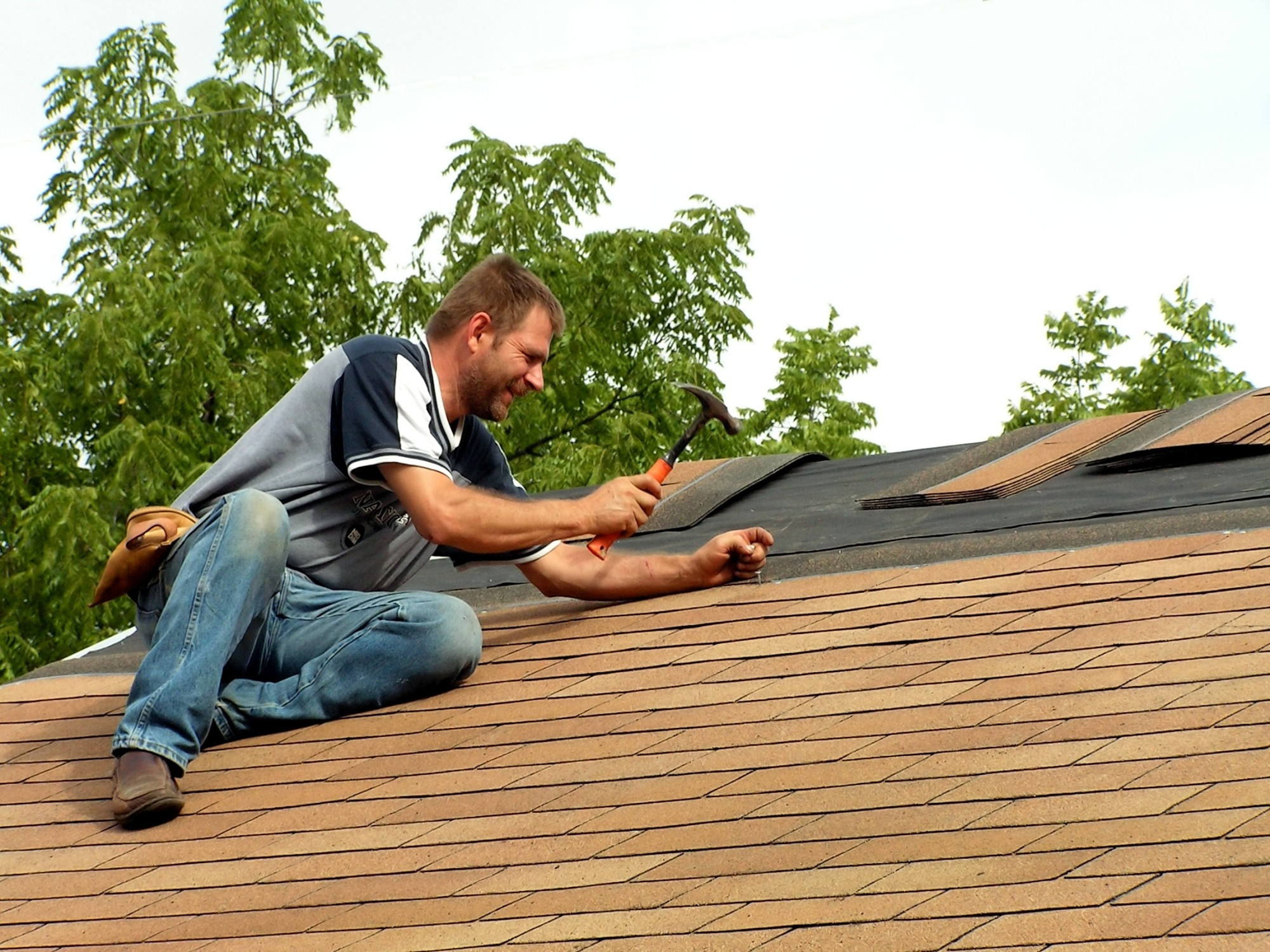 Person Doing Roof Maintenance