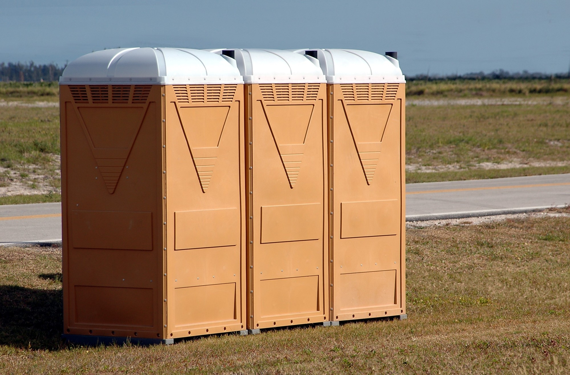 Porta Potties on a Field