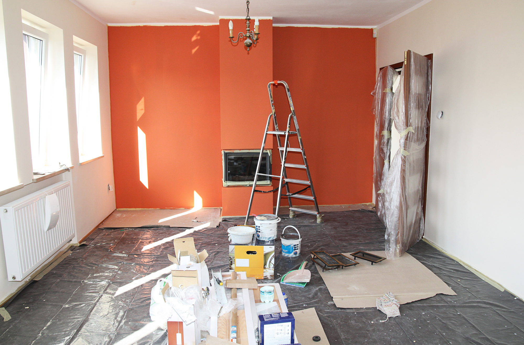 Interior of House Being Repainted